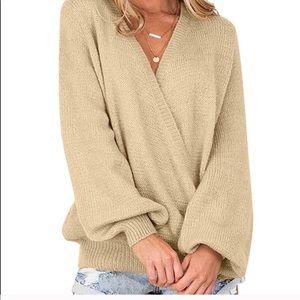 Long sleeve, oversized wrap sweater